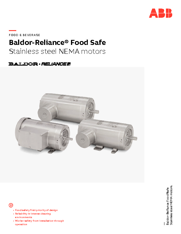 Food Safe Motors Brochure
